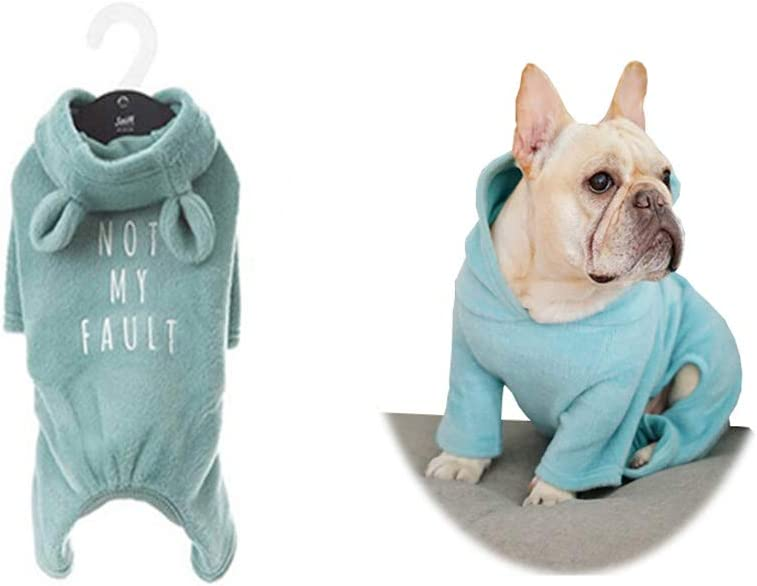 Khemn丨Bulldog Custom-Clothing丨Blue Soft-Cotton Dog Pajamas L* Dog Jumpsuit Dog Rabbit-Ear Hoodies for French Bulldog//English Bulldog//American Pit Bull Terrier//Pug
