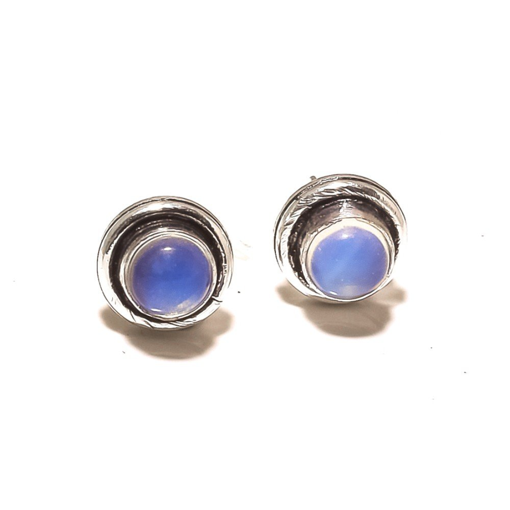 White Opalite Sterling Silver Overlay 4 Grams Stud//Earring 10 mm Girls Jewelry