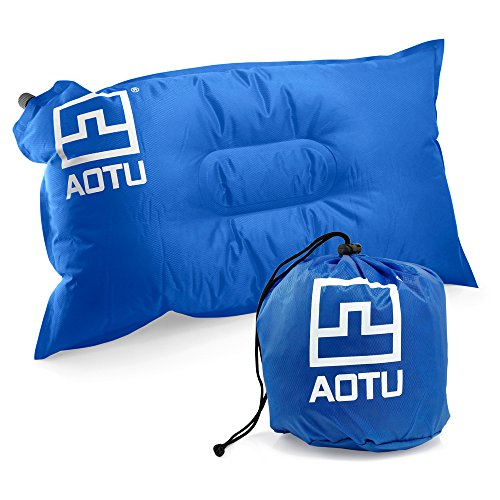 Oct17 Self Inflating Pillow Inflatable Camping Travel Hiking Backpacking Portable Outdoor Compact Pillow - Blue (Pottery Barn Sunbrella)
