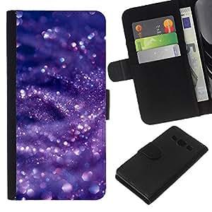 KLONGSHOP // Tirón de la caja Cartera de cuero con ranuras para tarjetas - Púrpura de agua azul brillante - Samsung Galaxy A3 //