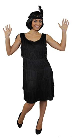 70d55363 LADIES DELUXE FLAPPER FANCY DRESS COSTUME 1920'S FRINGED DRESS IN BLACK  WITH MATCHING FEATHER SEQUIN HEADPIECE