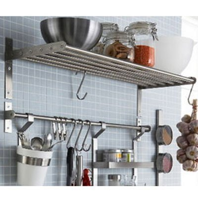 Amazon.com: Ikea Grundtal Kitchen Shelf Rail and Hooks Set Stainless Steel  (Stainless Steel, 1): Home & Kitchen