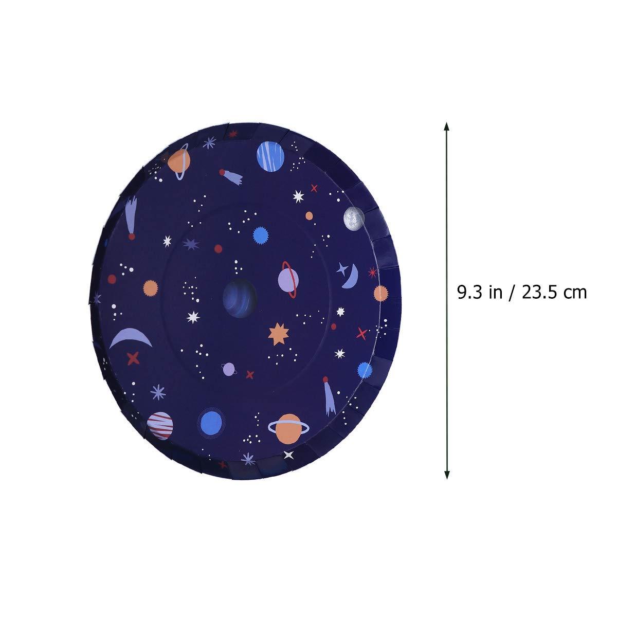 Amosfun Platos de Papel Desechables Taza Espacio Astronauta Espacio Tema Fiesta vajilla para Boda Fiesta de cumplea/ños 24 Piezas