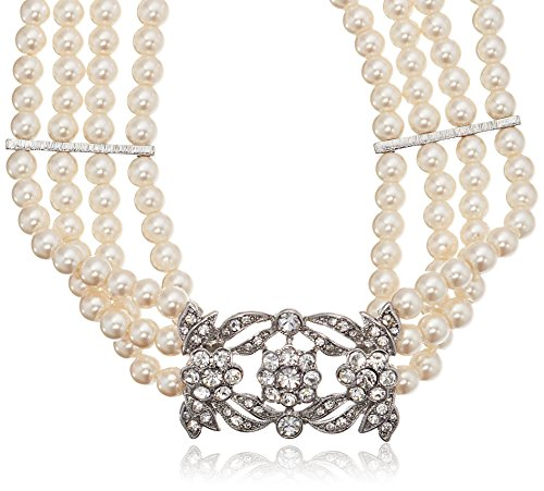Kenneth Jay Lane Bride Four Row Statement Simulated Cream Crystal Pearl Strand Necklace, 14