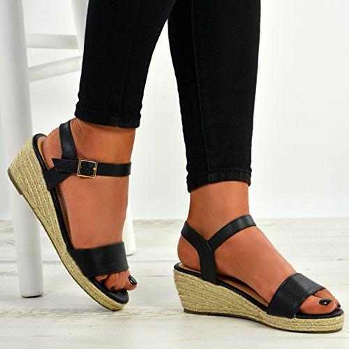 Cucu Fashion New Womens Ladies Peep Toe Espadrille Ankle Strap Wedge Sandals Summer Shoes Black pbIVPdcsQ