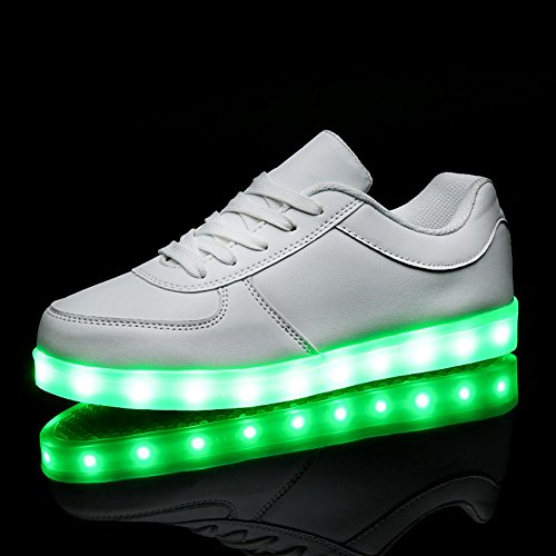USB ShinyNight Colors Sneakers Boys Sport Womens Shoes LED 11 Mens Shoes Fashion Charging White Up KALEIDO Girls Light For pI5dwqvIx