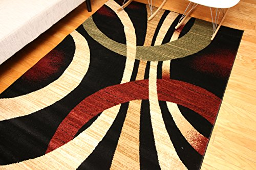 Feraghan/New City Brand New Contemporary Modern Wavy Circles Area Rug, 4' Round, Black/Brown/Beige