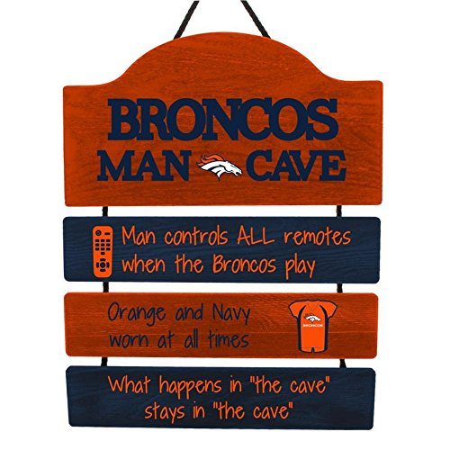 FOCO NFL Denver Broncos Team Logo Mancave Man Cave Hanging Wall Sign, Team Color, One Size