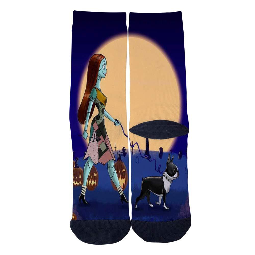 TheFun-Z Custom The Nightmare Walking A Boston Terrier Socks Novelty Funny Cartoon Crew Socks Elite Casual Socks