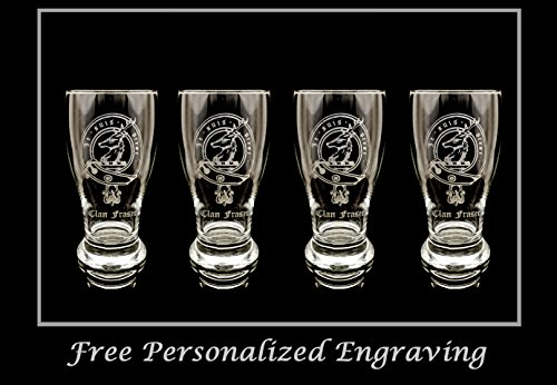 - Clan Fraser of Lovat Scottish Crest Pint Glass Set of 4 - Free Personalized Engraving, Family Crest, Pub Glass, Beer Glass, Custom Beer Glass