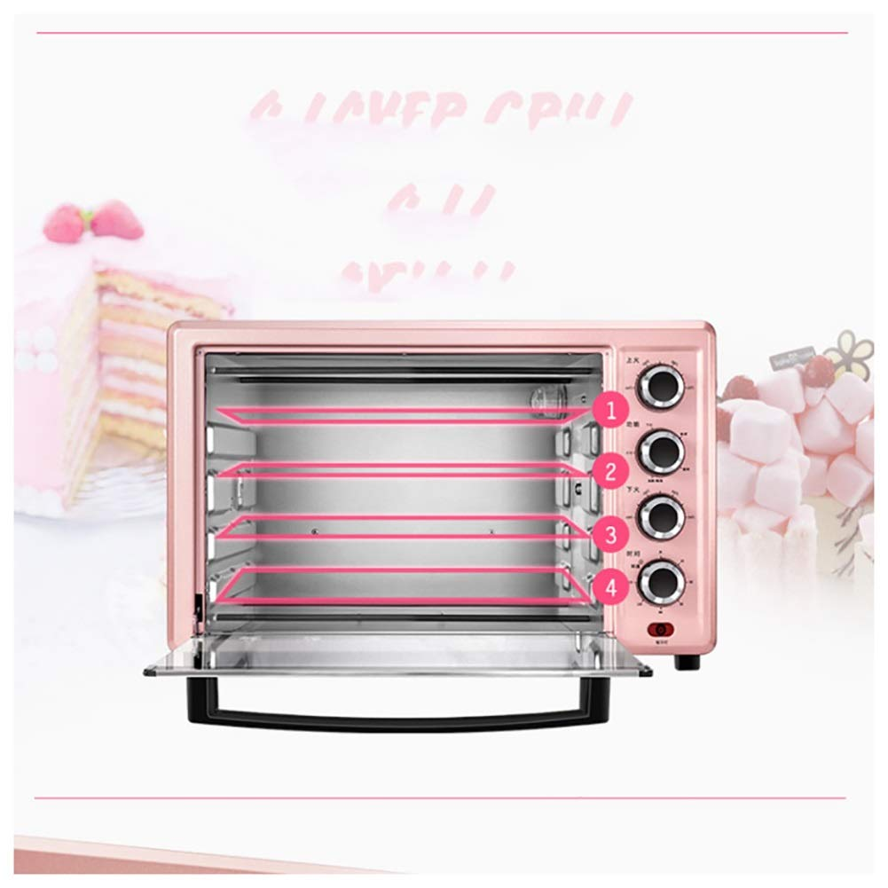 PANGU-ZC Ovens-Mini Oven With Grill 1700W 32L Electric Oven with Double Hotplate,able Top Cooker with 5 Preset Functions,Pink