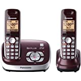 Panasonic Cordless Phone with Answering System, Wine Red, 2 Handsets (Certified Refurbished)