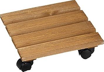 Kesper 69305 - Transporte con ruedas para macetas (madera de pino certificada por el FSC, 35 x 35 x 10 cm): Amazon.es: Hogar