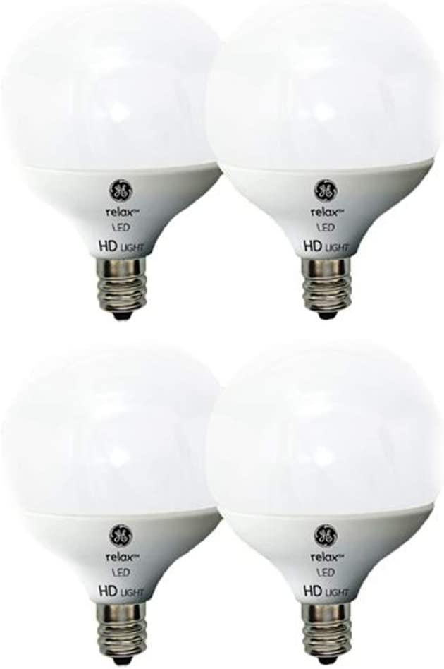 GE Lighting LED Relax HD, G16 Light Bulb with Candelabra Base, Frosted Finish (40W, 4 Bulbs)