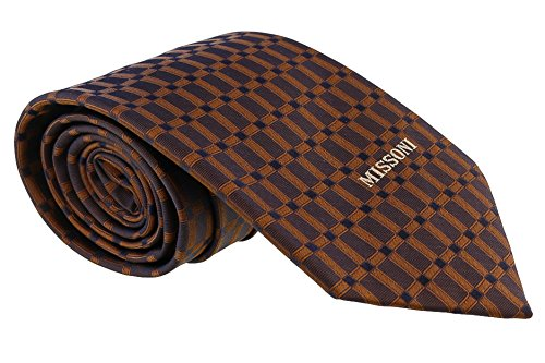 Missoni Grid Brown Woven 100% Silk Tie for mens
