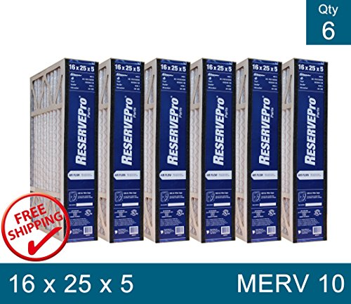 """Genuine ReservePro 16 x 25 x 5 Part # GF 4511 MERV 10 Size 15 5/8"""" x 24 3/16"""" x 4 15/16"""" PACK of 6 FILTERS"""