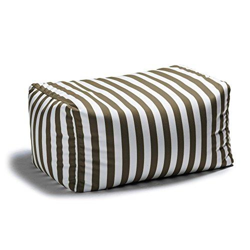 Jaxx Leon Outdoor Bean Bag Patio Ottoman, Taupe Stripes