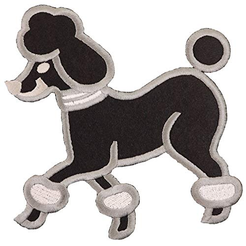 Simplicity Black Poodle Dog Applique Clothing Iron On Patch, 6