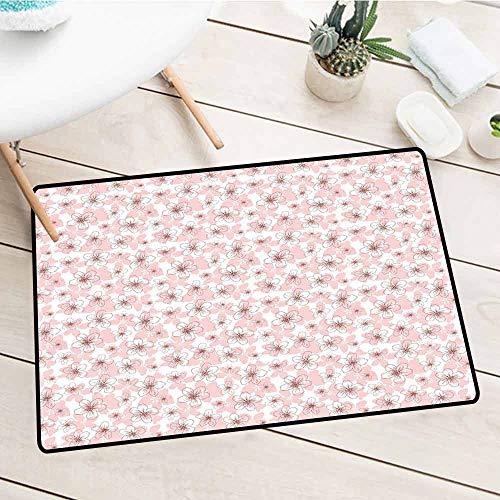- NineHuiTechnology Doormat, Cherry Blossom, Hand Drawn Style Little Flowers Botanical Doodle Sketch Organic Garden, Rose Ruby White, 18