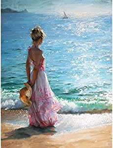 Sea Girl DIY picture by numbers canvas for living room decoration , 2724953134114