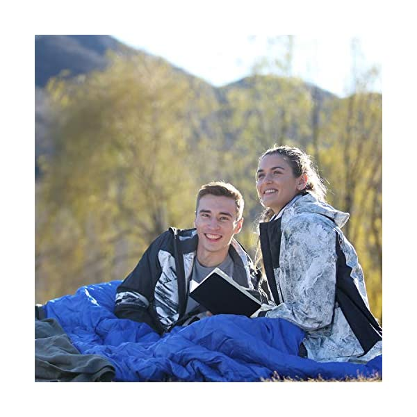 KingCamp Envelope Sleeping Bag 3 Season Spliced Adult Portable Lightweight Comfort with Compression Sack for Adults Kids Camping Backpack Temp Rating 44F 10