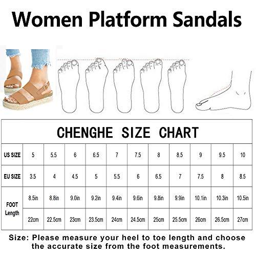 600fef50a890b Chenghe Women's Platform Sandals Casual Espadrilles Flatform Ankle Buckle  Strap Open Toe Slingback Summer Sandals Khaki US 7.5