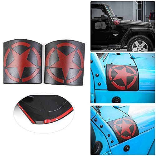 New Style Five Star Cowl Body Armor for Jeep Wrangler JK JKU Unlimited Rubicon Sahara X Off Road Sport Exterior Accessories Parts 2007 2008 2009 2010 2011 2012 2013 2014 2015 2016 2017 (RED)