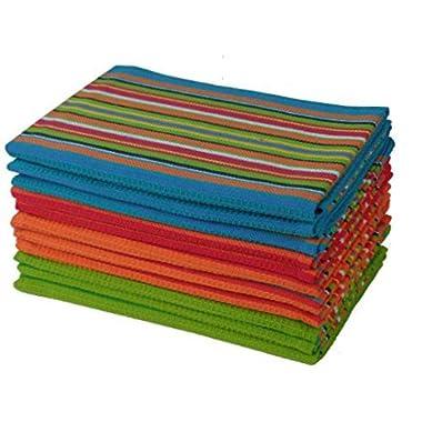 Cotton Craft 12 Pack Salsa Stripe Multi-Color Kitchen Towels 16x28 Inches- 100% Cotton