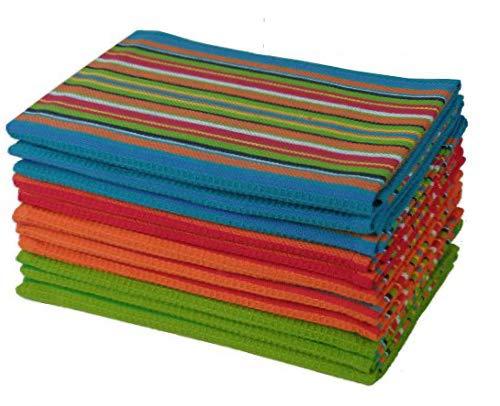 Stripe Kitchen Dish Towel - Cotton Craft 12 Pack Salsa Stripe Multi-Color Kitchen Towels 16x28 Inches- 100% Cotton