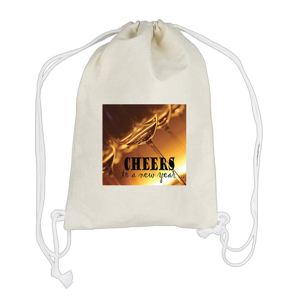 Cheers To A New Year With Beer Glass Cotton Canvas Backpack Drawstring Bag
