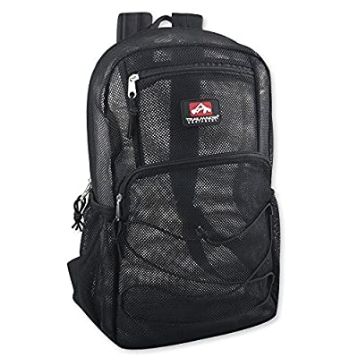 "Deluxe Mesh Bungee Backpack (18"") With Adjustable Padded Shoulder Straps"
