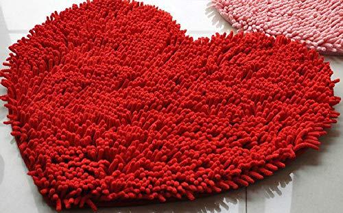 (Clearance Tuscom Soft Shaggy Non Slip Absorbent Heart Shape Chenille Bath Mat,50x 60cm for Bathroom Shower Rugs Carpet (Red))