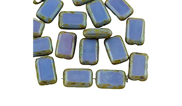 8pcs Picasso Crystal Table Cut Flat Rectangle Czech Glass Beads 8mm x 12mm