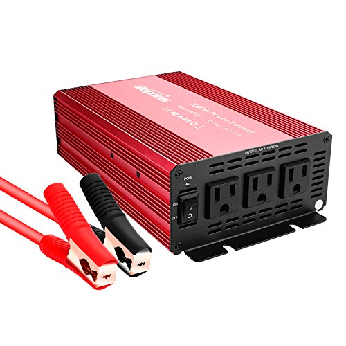 Bapdas 1000W Power Inverter DC 12V to 110V 3 AC Outlets Car Converter for Household Appliances in case Emergency, Hurricane, Storm and Outage-Red (Inverter 1000 Watt)