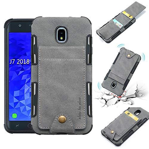 Galaxy J7 Star Case, J7 Refine/J7 Crown/J7 TOP/J7 V 2nd Gen/J7 Aura Case, 5 ID Credit Card Slot, Button Flip-Out Leather Drop Protection Wallet Case - Gray