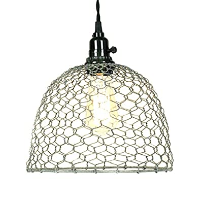Chicken Wire Dome Pendant Light in Barn Roof