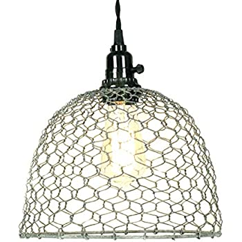 Chicken Wire Dome Pendant Light in Primitive Rust Finish