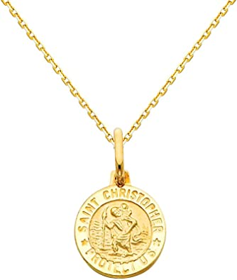 Saint Christopher Necklace Religious Necklace Cross Charm Necklace Gold Filled Charm Necklace Saint Necklace Small Cross Necklace