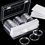 Hicarer 46 mm Coin Capsules and 8 Sizes (17/20.5/25/27/30/32/40/46 mm) Protect Gasket Coin Holder Case with Plastic Storage Organizer Box for Coin Collection Supplies