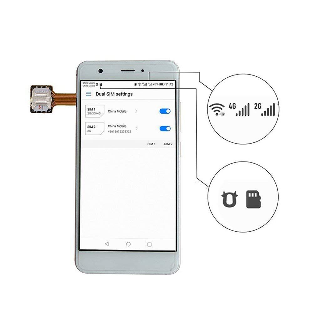 RoadRoma Universal Hybrid Sim Card Slot Dual Sim Card Adapter Extender Nano To Nano Coffee /& Silver
