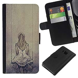 KingStore / Leather Etui en cuir / HTC One M7 / Melancolía Triste Dibujo oscilación;