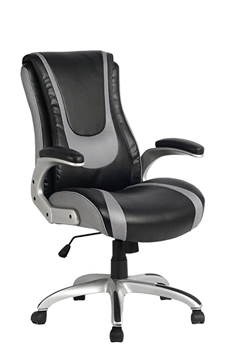 Ordinaire VIVA OFFICE High Back Bonded Leather Racing Style Office Swivel Chair,  Black And Light Grey