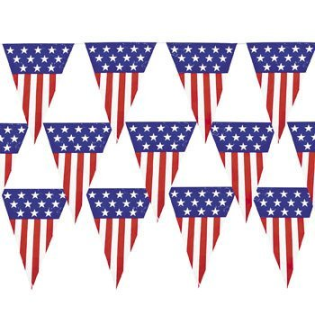 (Large 24 Foot Patriotic Pennant Banner (2)