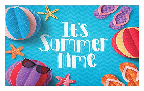 Ambesonne Pool Party Doormat, Its Summer Time Lettering with Beach Fun Sunglasses Starfish Balls Flip Flops, Decorative Polyester Floor Mat with Non-Skid Backing, 30