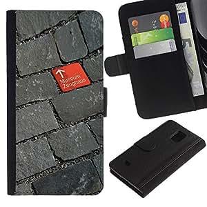 iBinBang / Flip Funda de Cuero Case Cover - Cobblestone Red Grey Design Museum - Samsung Galaxy S5 Mini, SM-G800, NOT S5 REGULAR!