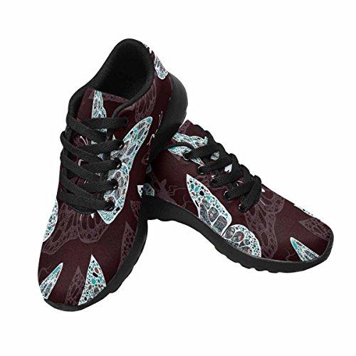 Interestprint Mujeres Jogging Running Sneaker Ligero Go Easy Walking Comodidad Deportes Zapatillas Mariposas En Estilo Boho, Hippie Multi 1