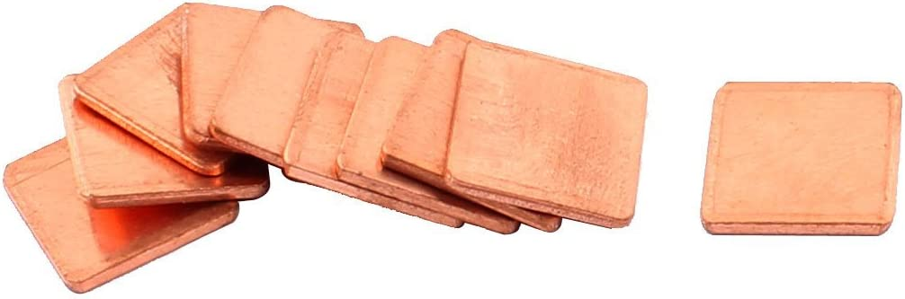 NA Copper PC Laptop CPU Pad Pads Heatsink Thermal Shim 15x15x1.5mm 10pcs