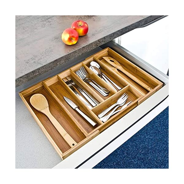 51FYgiCH9dL Relaxdays Besteckkasten Bambus, ausziehbarer Besteckeinsatz als Küchenorganizer, Schubladeneinsatz 33,5x29-48x5 cm…