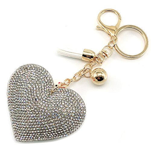 Elesa Miracle Girl Women Love Heart Tassel Keychain, Purse Bag Charm, Handbag Accessories, Car Key Chain ()