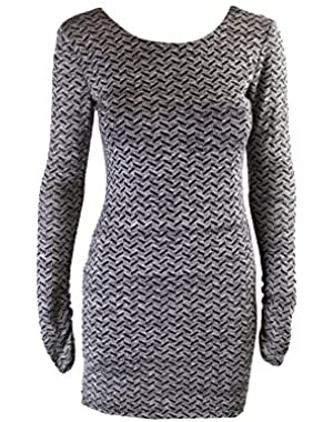 Jessica Simpson Juniors Black Silver Metallic Long-Sleeve Sheath Dress